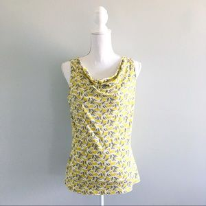 Boden Yellow Leaf Print Cowl Sleeveless Top